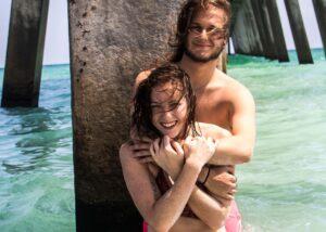 beach, couple, love